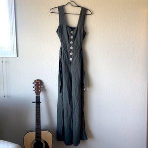 Olive green linen jumpsuit